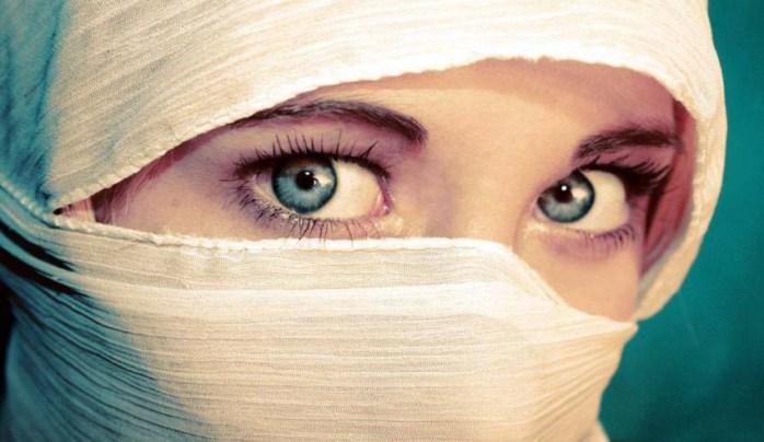Beautiful eyes behind veil